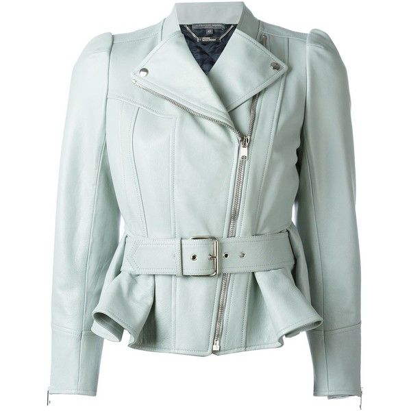 Alexander McQueen Peplum Biker Jacket ($4,135) ❤ liked on Polyvore featuring outerwear, jackets, green, genuine leather jacket, green leather jacket, moto jacket, real leather jacket and leather rider jacket