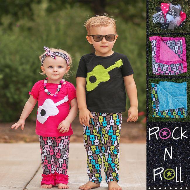 Rock N Roll Christmas Tree: Matching Guitar Boy And Girl Pant Sets