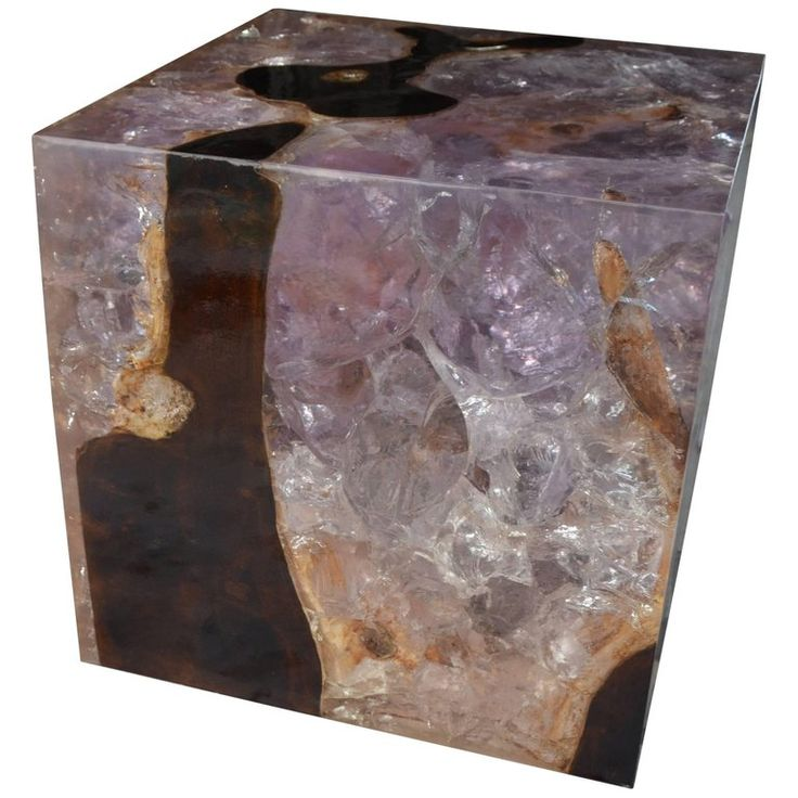 Andrianna Shamaris Cracked Resin Cocktail Table For Sale