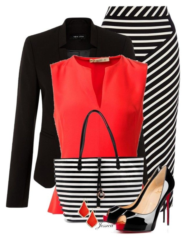 Pop of Red by jessicagreene123 on Polyvore featuring Etro, New Look, Karen Millen, Christian Louboutin and Kendra Scott