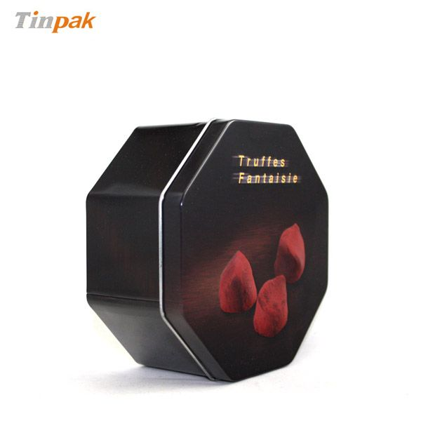 This samll metal cookie tin packaging with elegant printing and octagonal shaped is suitable for packing cookies,biscuits,chocolate and so on.