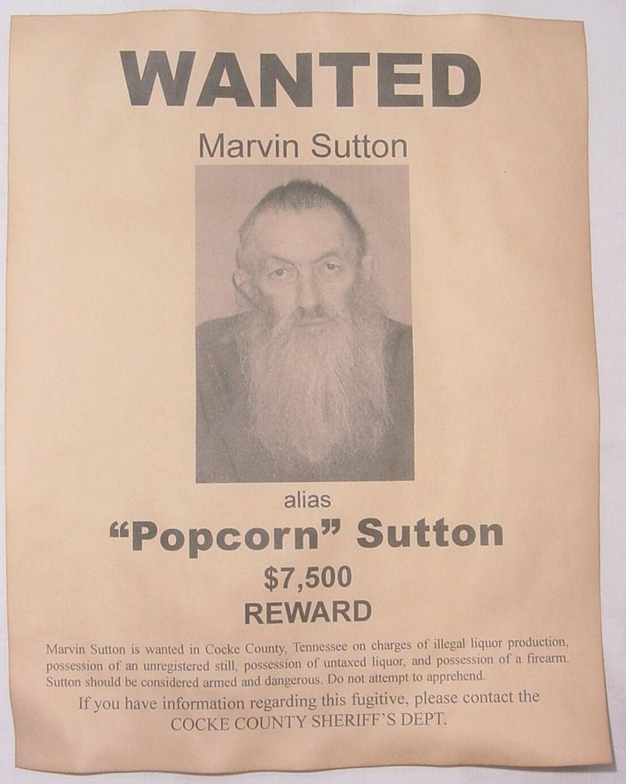 Set of 5 Wanted Posters, Moonshiner, Popcorn Sutton, Big Haley, Johnse Hatfield, Bootleg Stills. $10.00, via Etsy.
