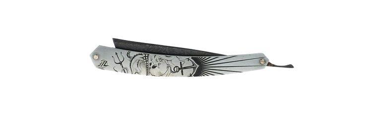 Le coupe-chou par Tom Fleury. Lame damas carbone, émouture faite à la main, traitement thermique bleu. Chasse de rasoir RENAUD SAUZEDDE (So.Z) octopus.