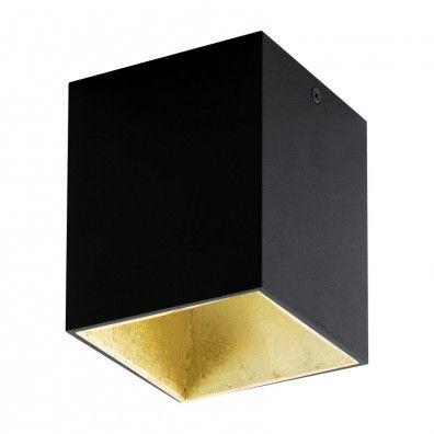EGLO POLASSO LED Aufbauleuchte, eckig, 100mm, schwarz, gold