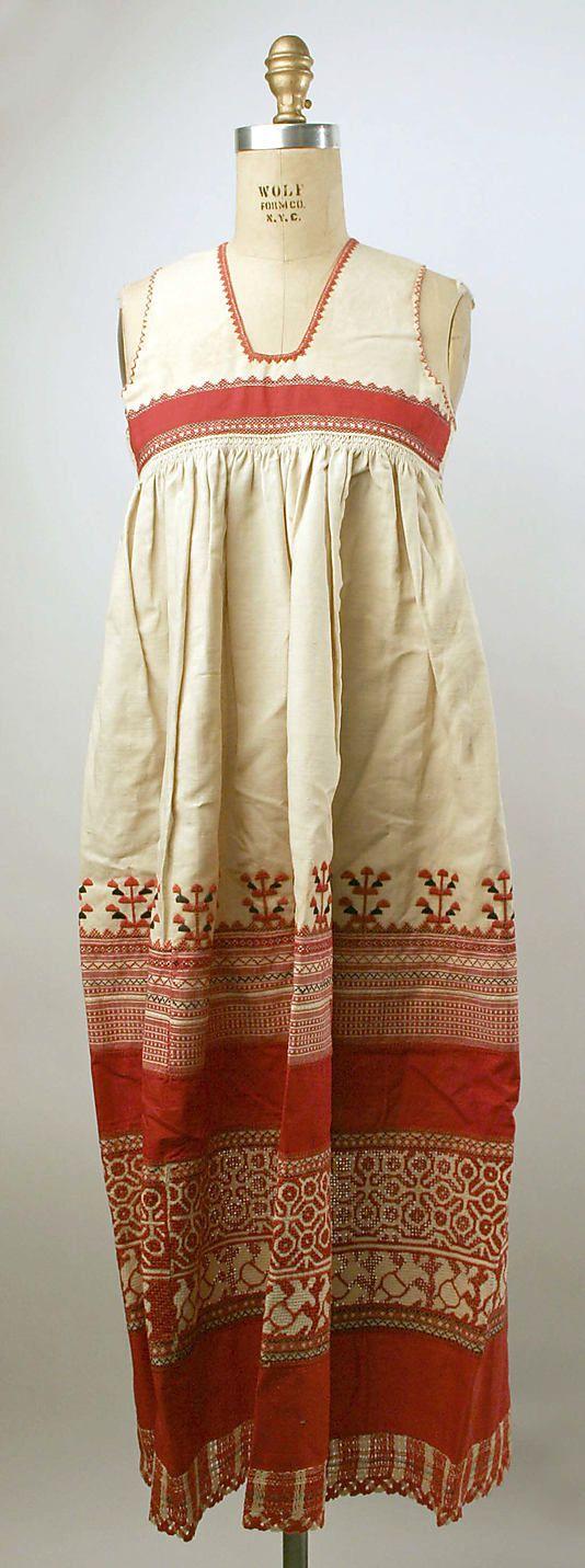Apron Date: 19th century Culture: Russian Medium: linen, cotton Dimensions…