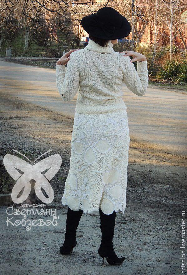"""Купить Костюм """"Зимняя сладость"""" - белый, Костюм вязаный, костюм женский, джемпер женский"""