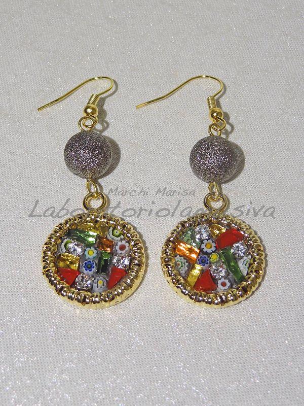 Orecchini con mosaico in vetro, murrine veneziane e strass. Earrings with glass mosaic. Multicolored