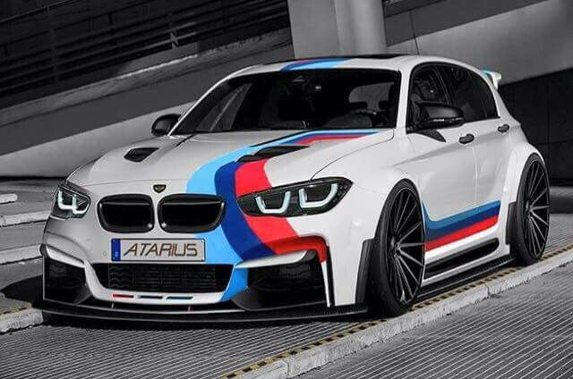 BMW E87 1 series white ///M stripe Atarius bodykit slammed