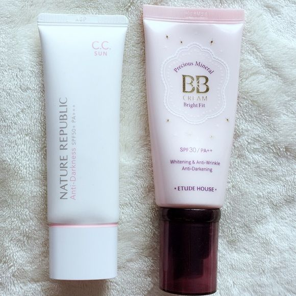 NEW Duo Korean BB+CC Creams New. Full size. Made in Korea. Etude House Precious Mineral BB Cream Bright Fit, SPF 30 / PA++ Whitening & Anti-wrinkle & Anti-darkening, 60g. Nature Republic Anti-darkness, SPF 50+ PA+++, CC Cream, 45ml. Makeup