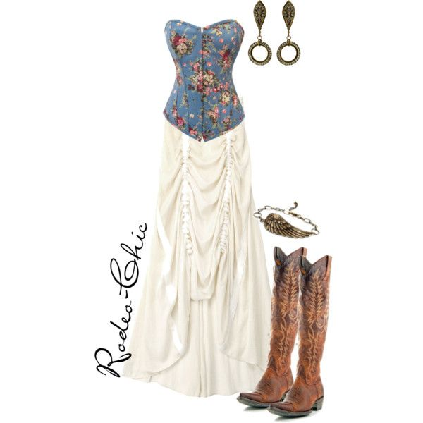 By Rodeo-Chic, Cowboy Boots: Mayra by @oldgringoboots. Hi-lo maxi bustle skirt with cowboy boots, western corset, prairie