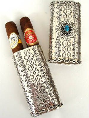 For man who has almost everything. Hand forged sterling silver cigar case.