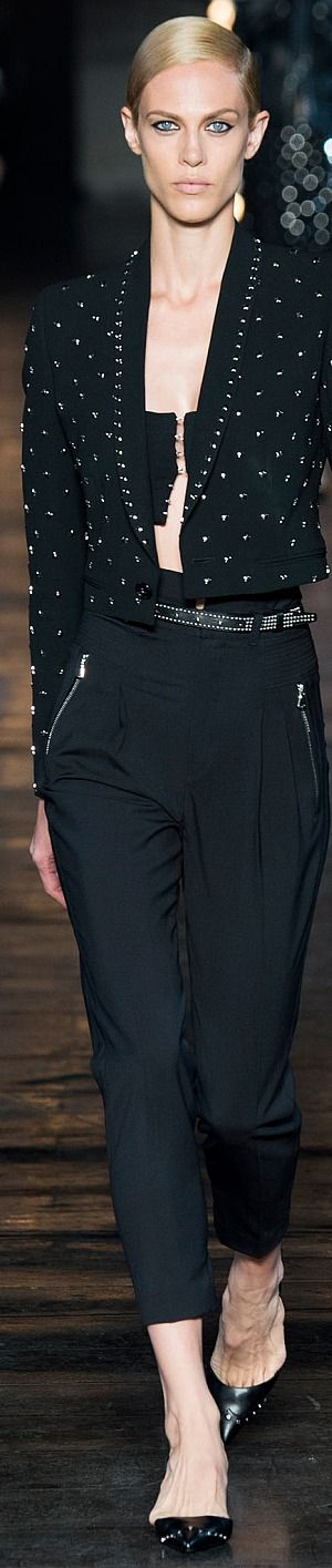 Diesel ~ Black Cropped Spring Jacket w White Accent + Black Belted Trousers 2015