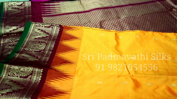 Traditional mango yellow with contrast maroon temple border and rich pallu. Book now 91 9821054556 Sri Padmavathi Silks, the only South Indian store in Dombivli, India. Kancheepuram pure silk sarees in Mumbai. International shipping available. Wholesale orders accepted.