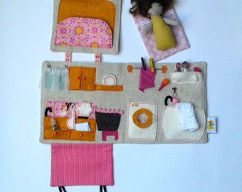 Made To Order   Textile, Sewed Dollhouse With A Mini Rag Doll And  Accessories / Portable Dollhouse / Travel Fabric Dollhouse