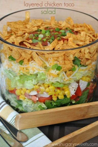 Layered Chicken Taco Salad recipe: a delicious layered salad that's perfect for dinner meal! Bring to your next potluck, party, barbeque, or picnic too!