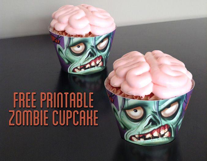 free zombie cupcake printable