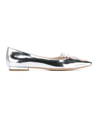 SOPHIE HULME SOPHIE HULME WOMEN'S  SILVER LEATHER FLATS. #sophiehulme #shoes #