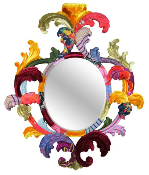 Multicoloured Carved Oval Leaf Mirror by Squint Limited