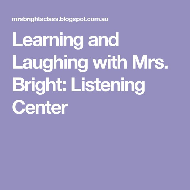 Learning and Laughing with Mrs. Bright: Listening Center