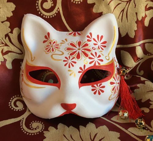 Hand-Painted-Half-Face-Japanese-Fox-Mask-Kitsune-Cosplay-Masquerade-Halloween