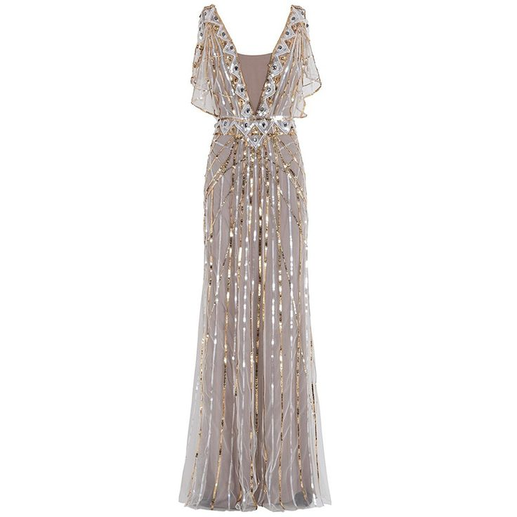 Find More Evening Dresses Information about 2016 Women V Neck Gold Sequin Beaded Luxury Long Great Gatsby Evening Dresses Gala Jurken Abaya Formal Crystal Robe De Soiree,High Quality dress grape,China gowns children Suppliers, Cheap dress tulle from Lowime Boutique Store on Aliexpress.com