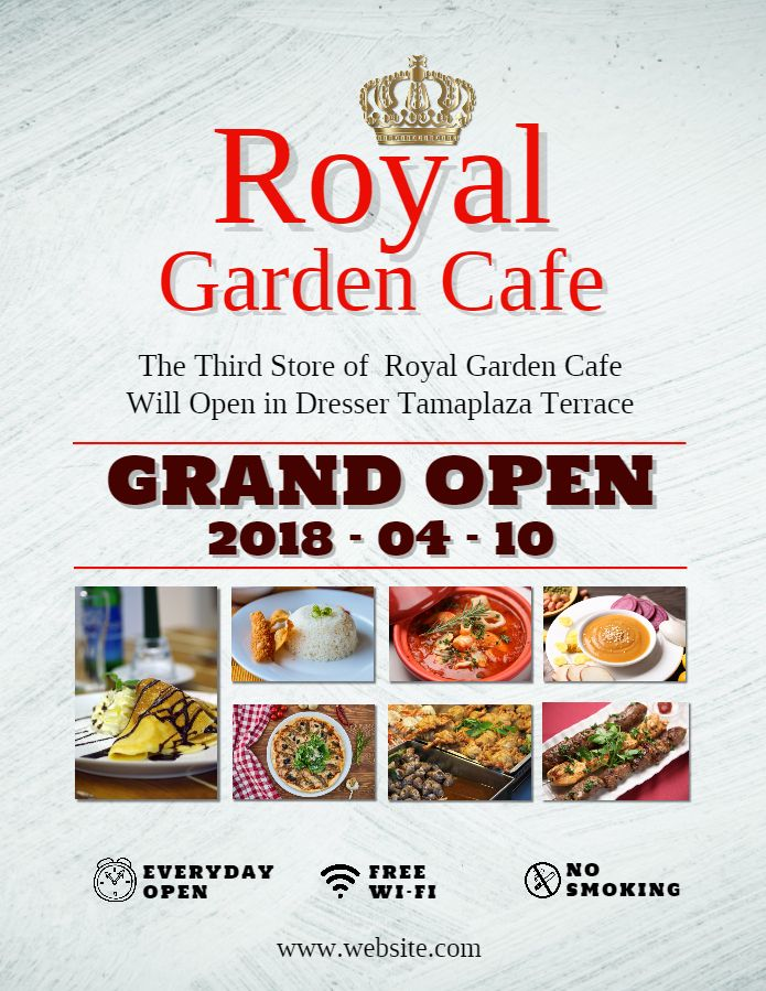 Restaurant/cafe grand opening invitation poster flyer design