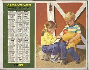 CALENDRIER-ALMANACH-PTT-1967-OBERTHUR-ENFANTS-COQ-CHEVAL-EQUITATION-Camera-Clix