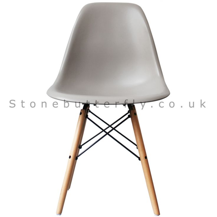 Charles Ray Eames Style DSW Side Chair Natural legs - Cool Grey