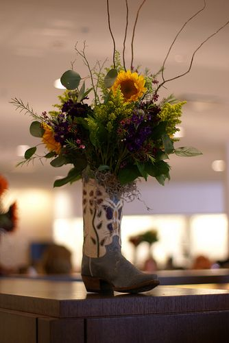 Arrangements In Boots | Cowboy Boot Vases « 2013 Berkshire Hathaway Annual Shareholders ...