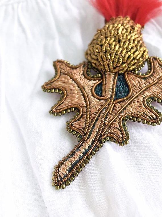 Brooch heart vintage brooch bronze brooch jacket brooch crystal beads brooch, bead embroidery brooch,Handmade Brooch,Beadwork