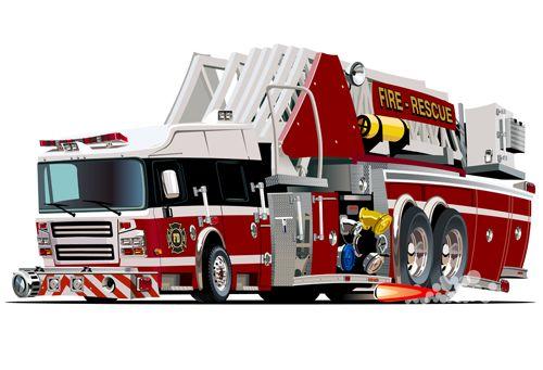 Cartoon fire truck vector material 10