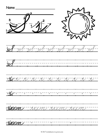 Free Printable Cursive S Worksheet (With images) | Cursive ...