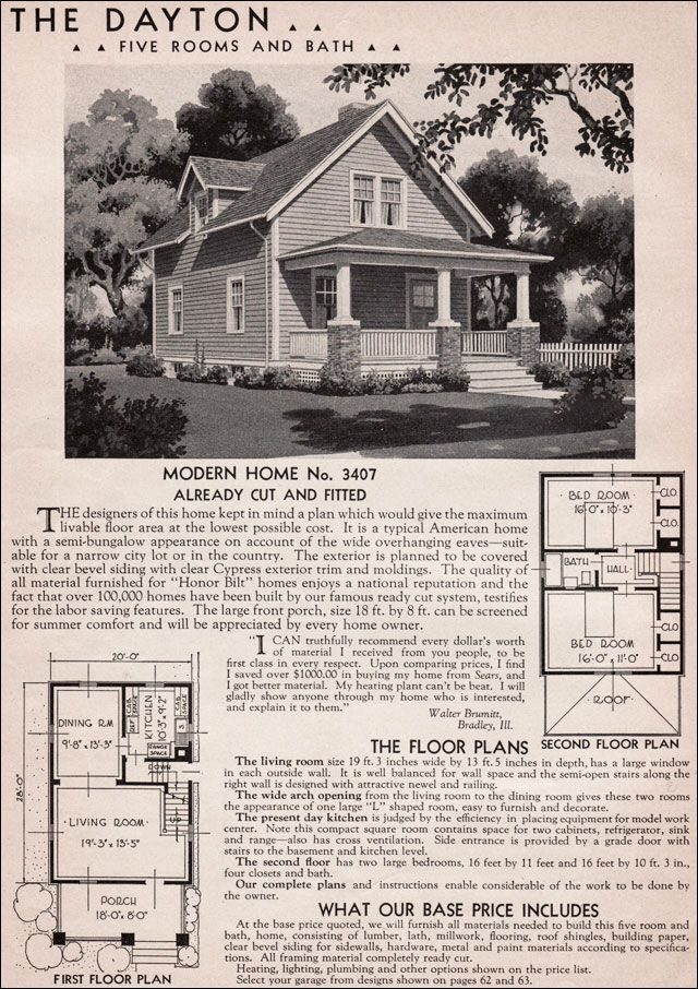 1936 sears kit house dayton what a cute craftsman for Vintage craftsman house plans