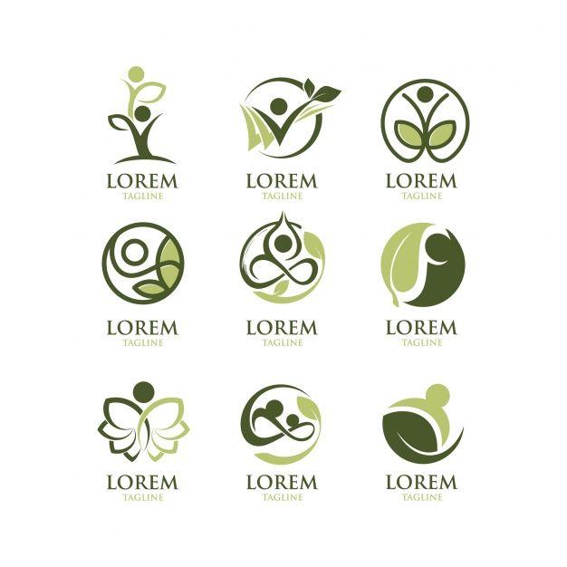 Coleção ecológica de logotipos Vetor grátis