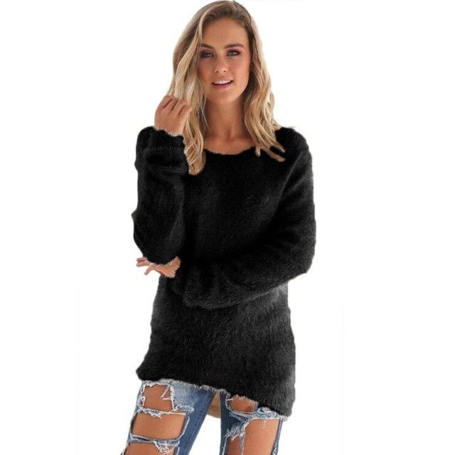 2017 Womens Warm Wool Blend Long Sleeve Sweaters Fashion Women Ladies sweater Hip Length Pullovers Tops Blouse