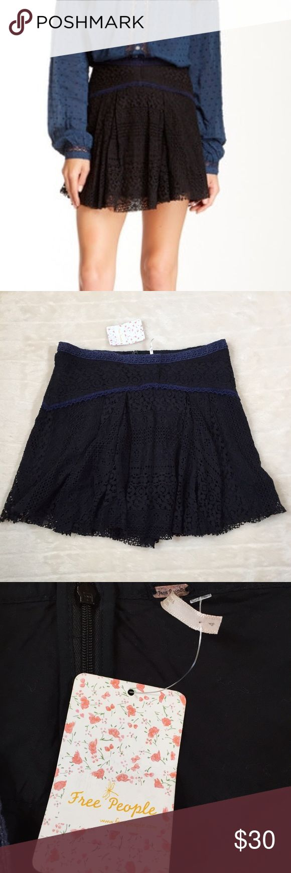 """NWT Free People Black Apple of my Eye Skirt Brand new with tags. Crochet lace over lining. Zip up back. ⭐️Waist 30.5 ⭐️ Waist to hem 15.5"""" ⭐️ Shell 59% cotton 25% nylon 15% rayon 1% poly ⭐️ Lining 100% cotton Free People Skirts Mini"""