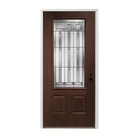 Pella 2-Panel Insulating Core 3/4 Lite Left-Hand Inswing Prestained Dark Mahogany Fiberglass Stained Prehung Entry Door