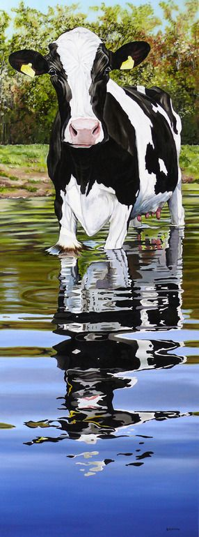 "Saatchi Online Artist: Clara Bastian; Oil, Painting ""Cow in a creek"""