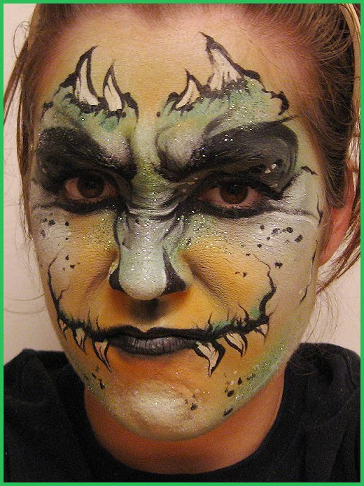dragon face - Halloween Face Paint Ideas For Adults