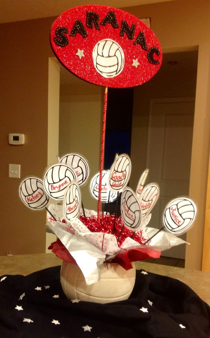 Volleyball team centerpiece table top decorations for Athletic banquet decoration ideas