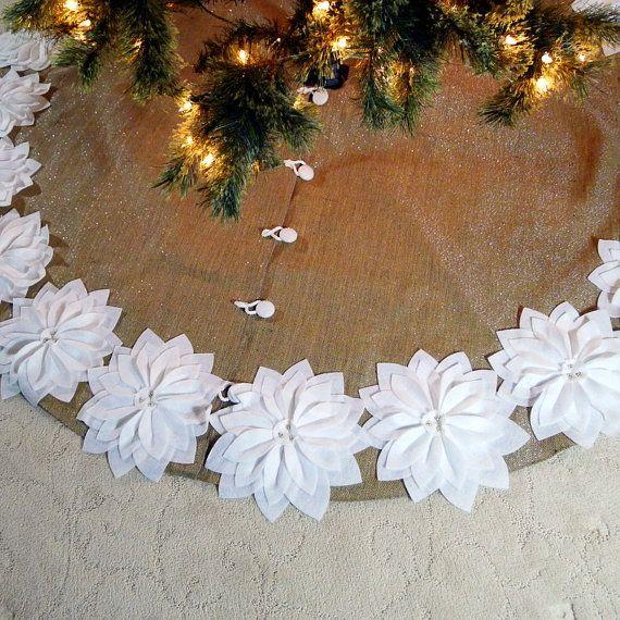 VENTA: 65 falda de árbol de Navidad de arpillera por SeamsClever