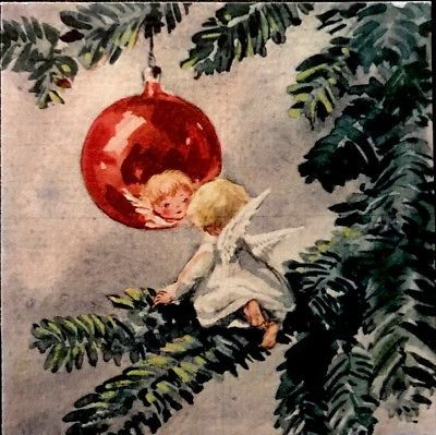 Vintage Xmas Card Little Angel Pine Tree Reflection In Glass Ornament BROWNIE