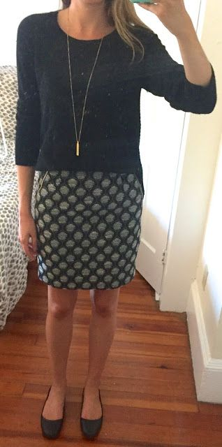 outfit post - sister week: black sweater, patterned pencil skirt, black flats | Outfit Posts