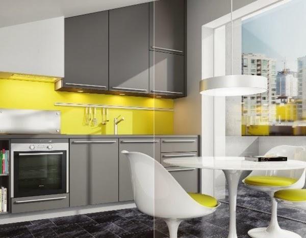 cocina moderna gris amarillo | cucines | pinterest, Kuchen dekoo