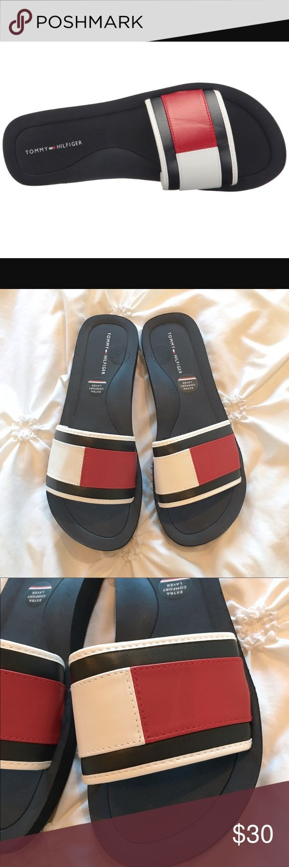 NWT Tommy Hilfiger Jumbo Logo Slides Brand new with tags Tommy Hilfiger foam slides with the jumbo logo on them. I have two pairs, one size 8 and the other a size 9. They run in whole sizes and I recommend if you're a half size to size down to the nearest whole size. Personally I'm a size 8.5 and the size 8 fits me perfectly! Tommy Hilfiger Shoes Sandals