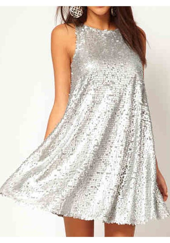 Sparkle and SHINE! Love Love LOVE it! Silver Plain Sequin Sleeveless Above Knee Polyester Dress #Sparkle #Shine #Silver #Bling #Party_Dress #Fashion