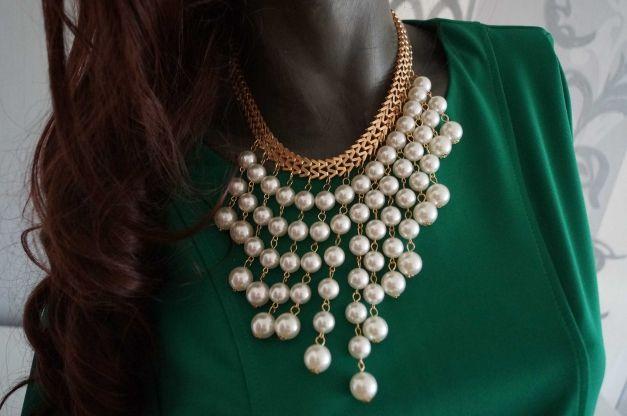 Kleiderkorb.de :: Statement Kette mit Perlen weiß Statementkette