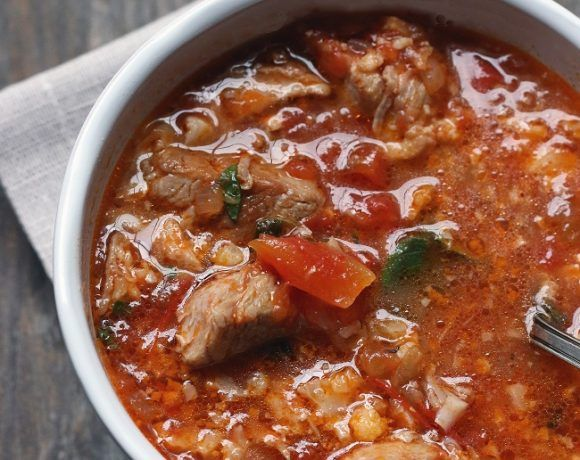 """Pork & Tomato """"Rice"""" Soup – Low Carb and Gluten Free"""
