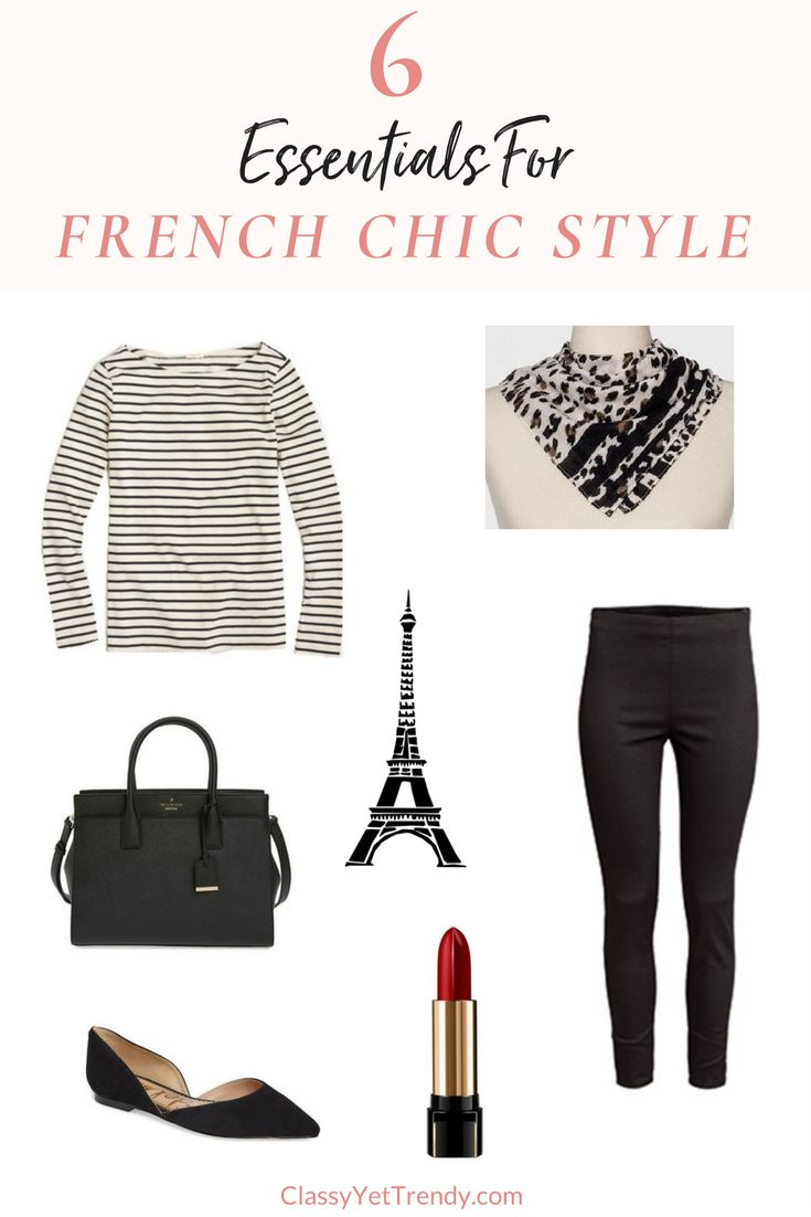 6 Essentials For French Chic Style - When it comes to style and dressing effortlessly, French women are experts!  Their simple, yet chic sense of fashion is iconic.  They wear classic essentials that you probably already have in your closet, like a striped top, black ankle pants, bandana scarf, structured handbag, flats and bold lipcolor.