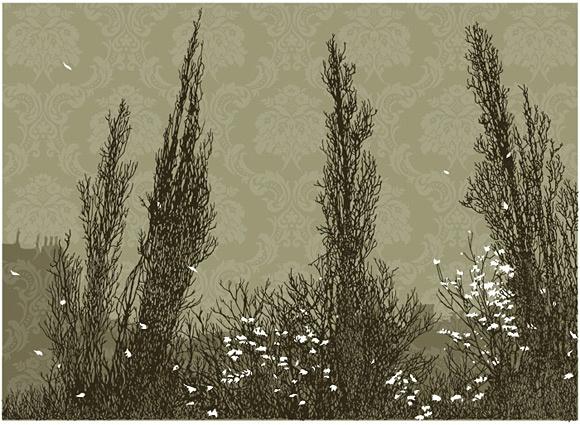 Cypress art print (silk screen) by Elizabeth Daggar
